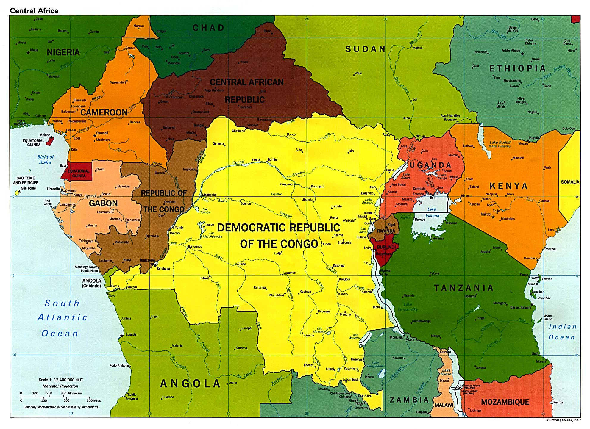 Central Africa Political Map 1997