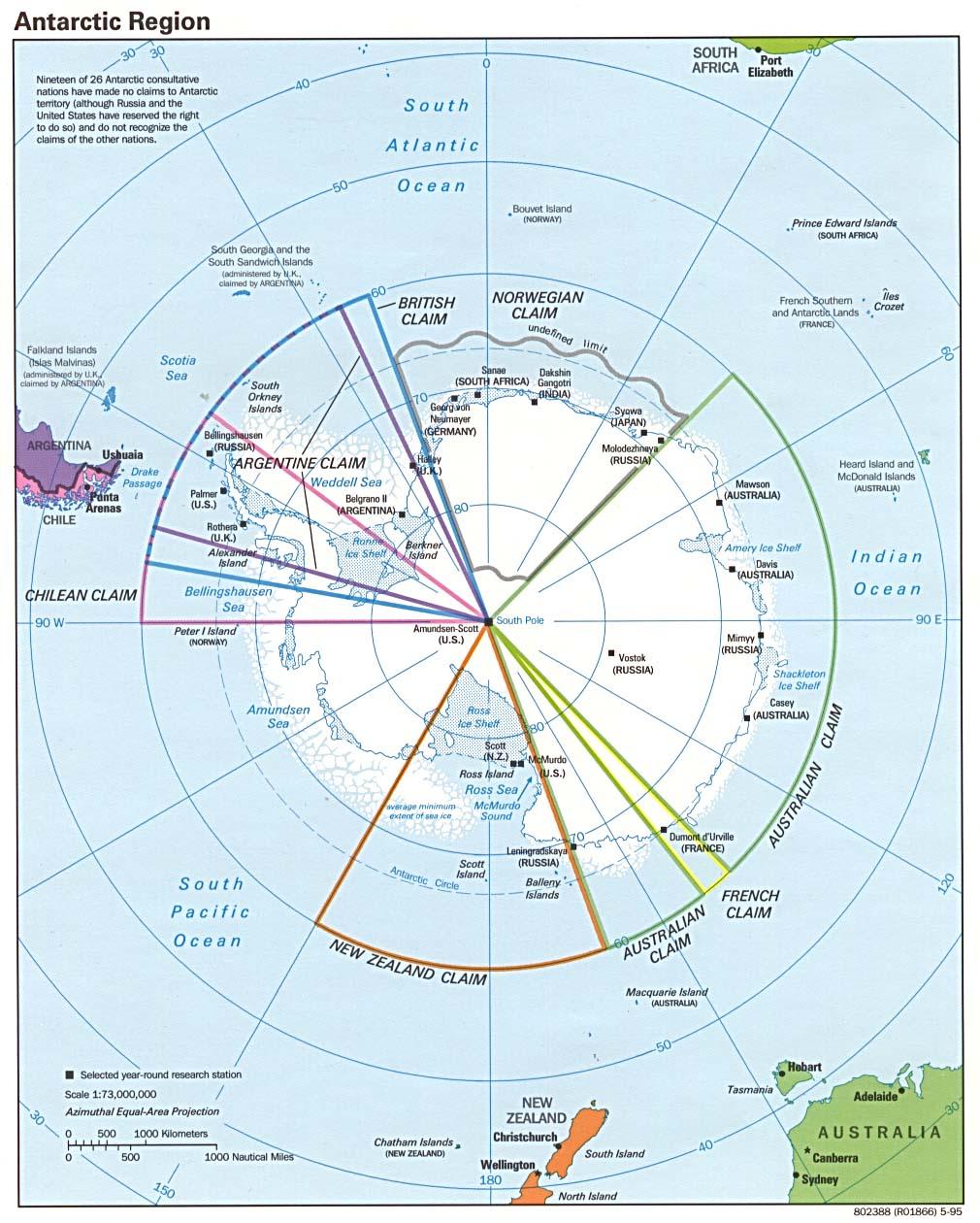 Map of Antarctica 1995