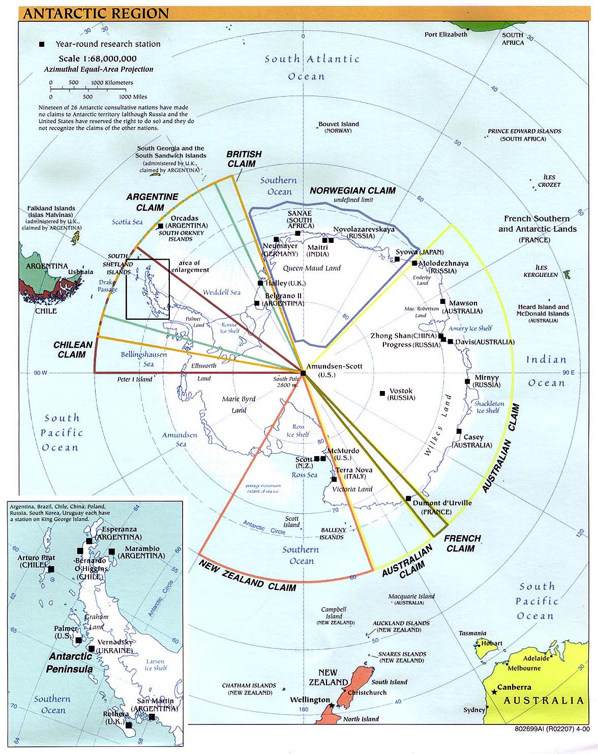 Map of Antarctica 2000