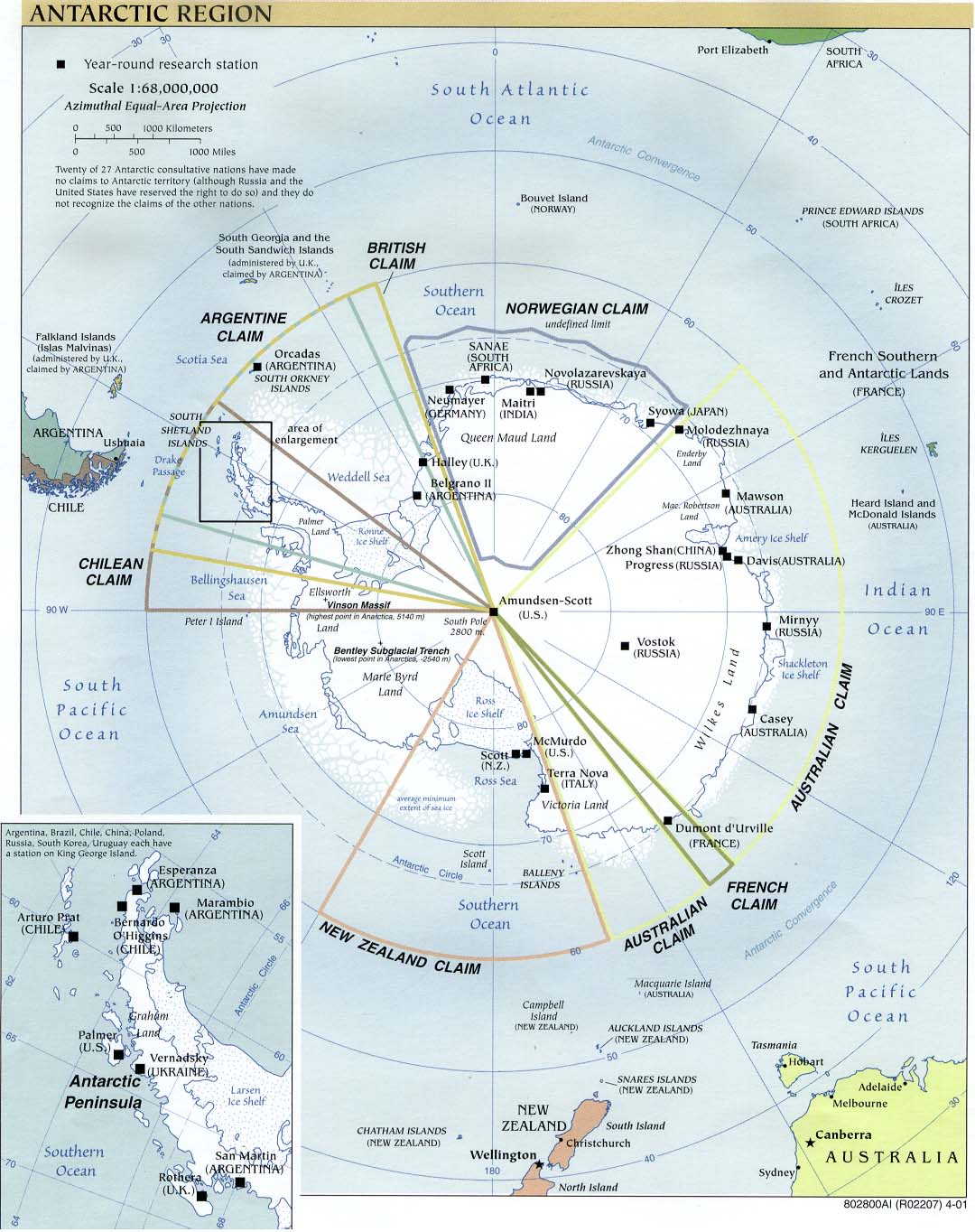 Mapa Politico de la Antártida 2001
