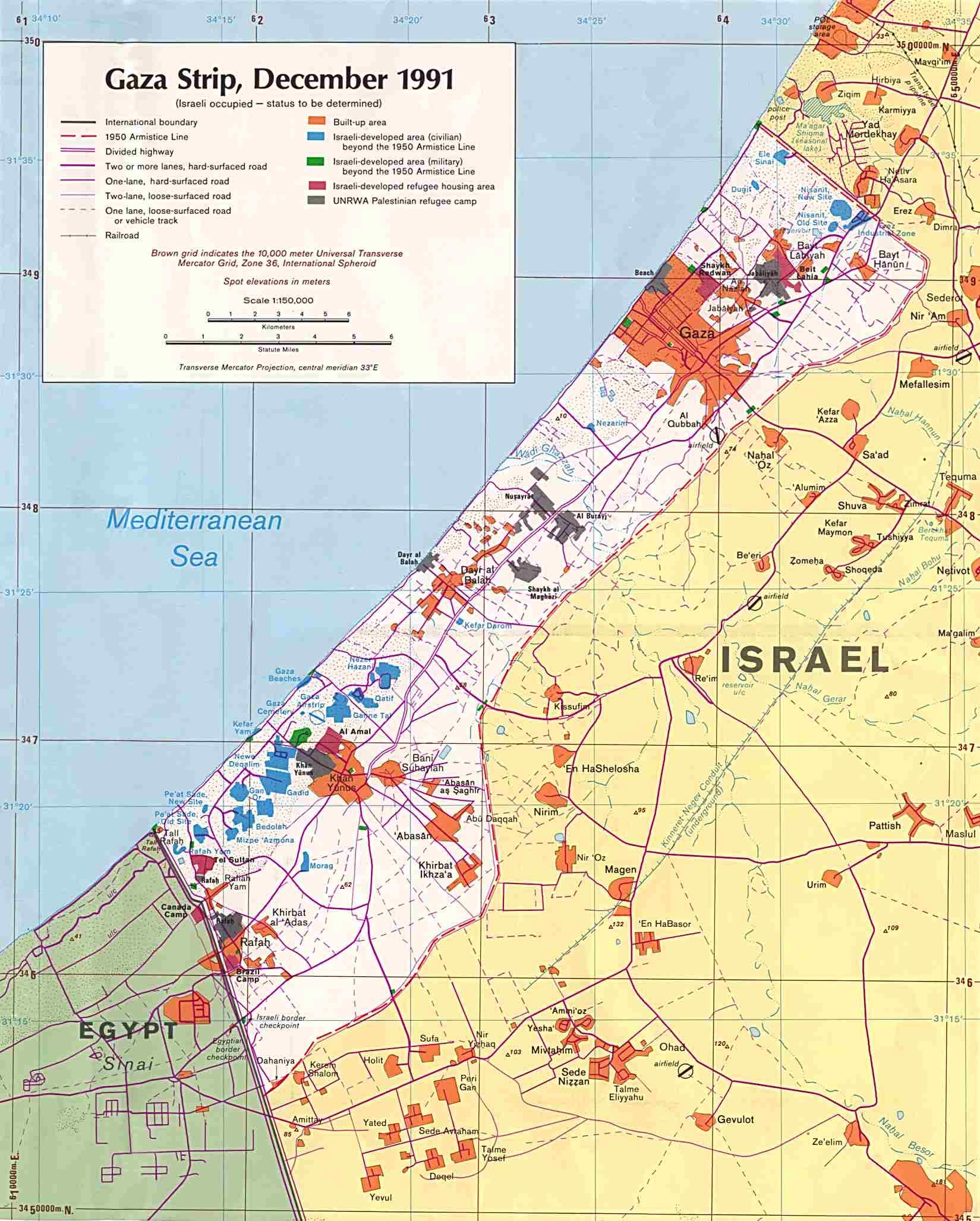 Mapa Politico de la Franja de Gaza