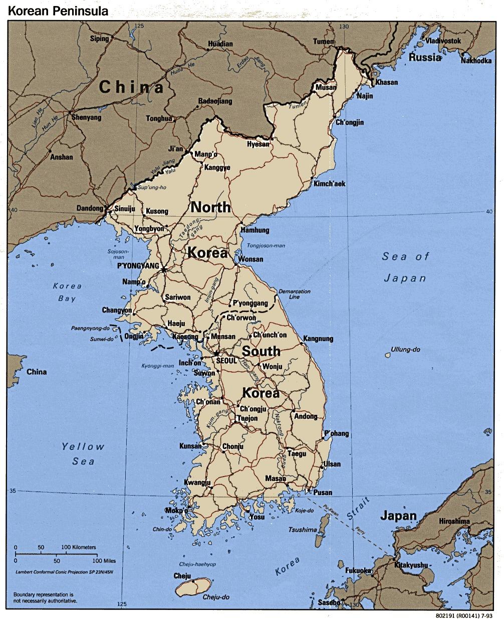 Mapa Politico de la Península de Corea