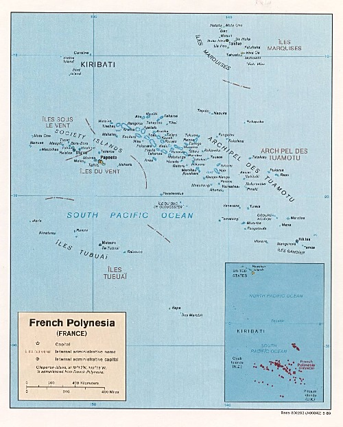 Mapa Politico de la Polinesia Francesa