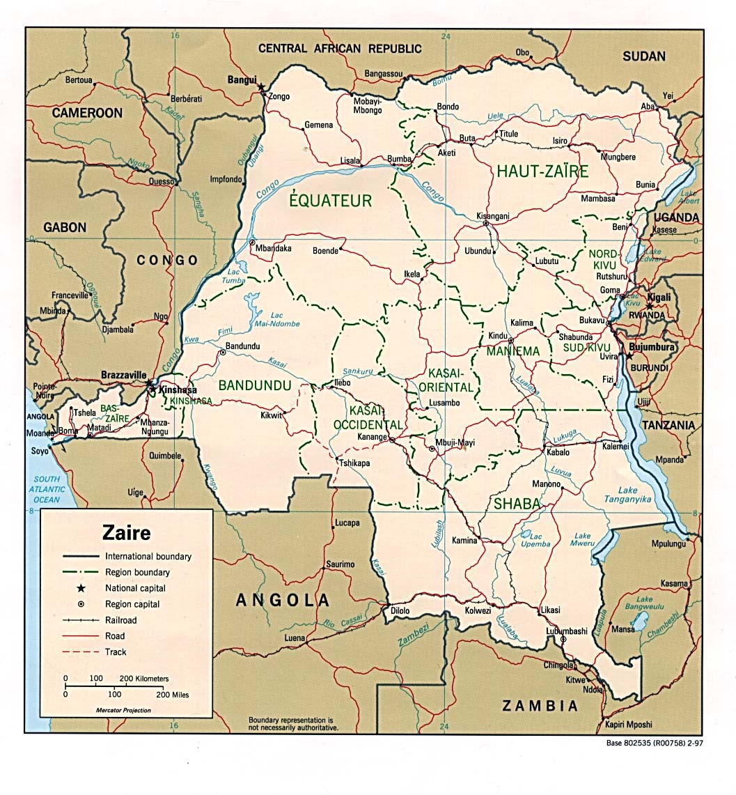 Democratic Republic of the Congo (Zaire) Political Map