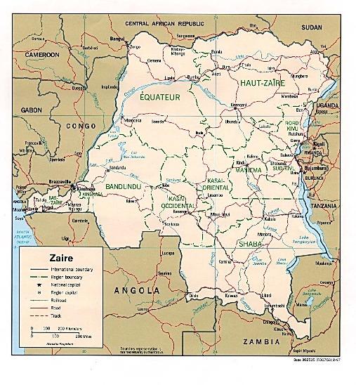 Mapa Politico de la República Democrática del Congo (Zaire)