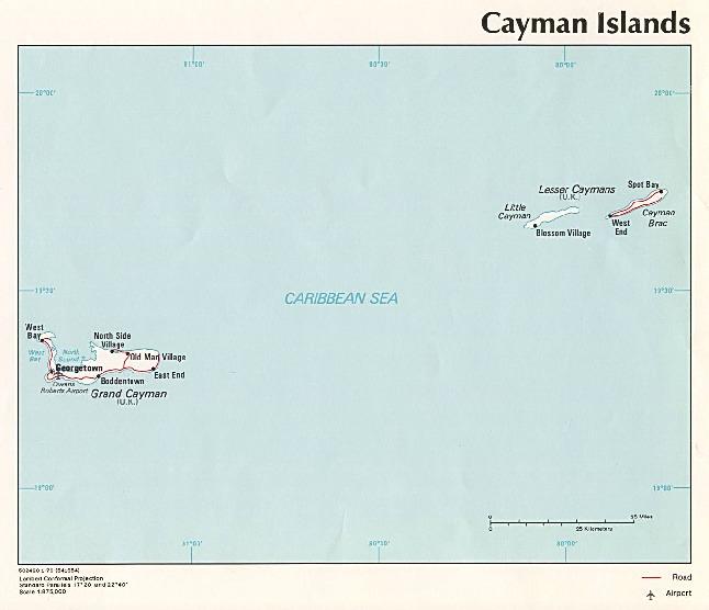 Mapa Politico de las Islas Caimán