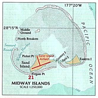 Mapa Politico de las Islas Midway, Estados Unidos