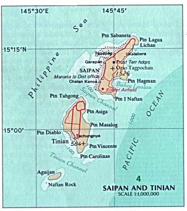 Mapa Politico de las Islas Saipán y Tinian, Islas Marianas del Norte, Estados Unidos