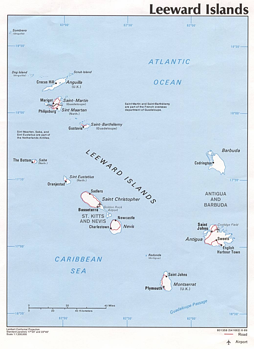 Leeward Islands Political Map