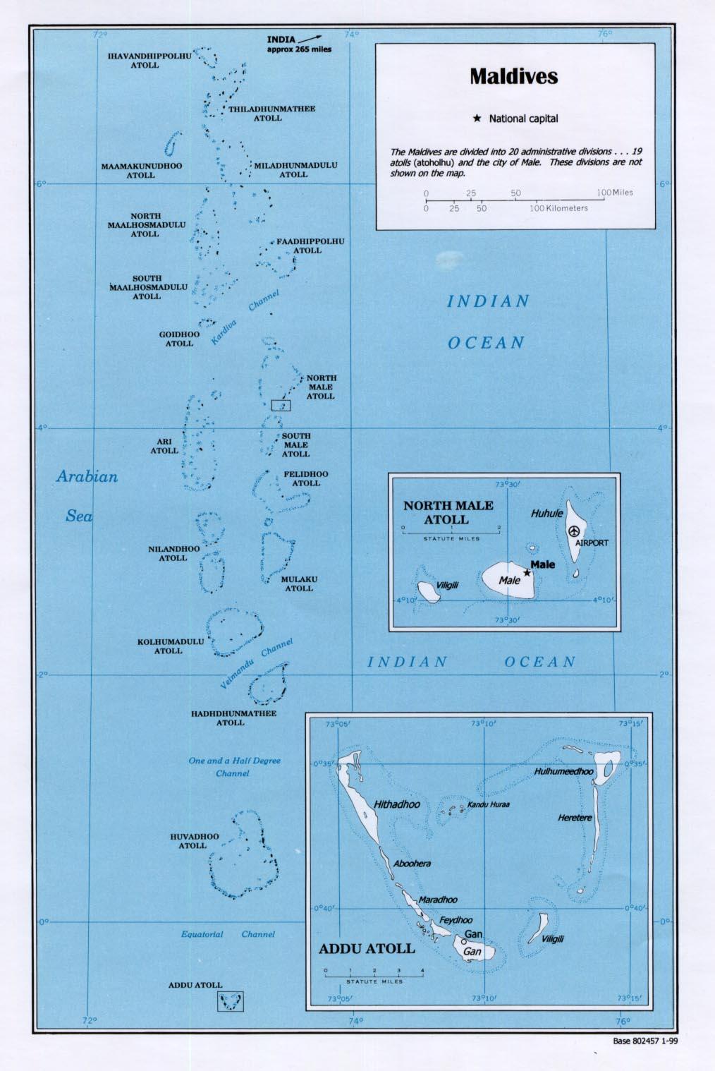 Mapa Politico de las Maldivas