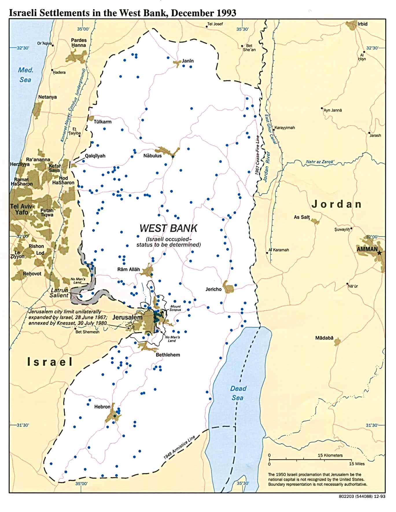 Mapa Politico de los Asentamientos Israelíes en Cisjordania Diciembre