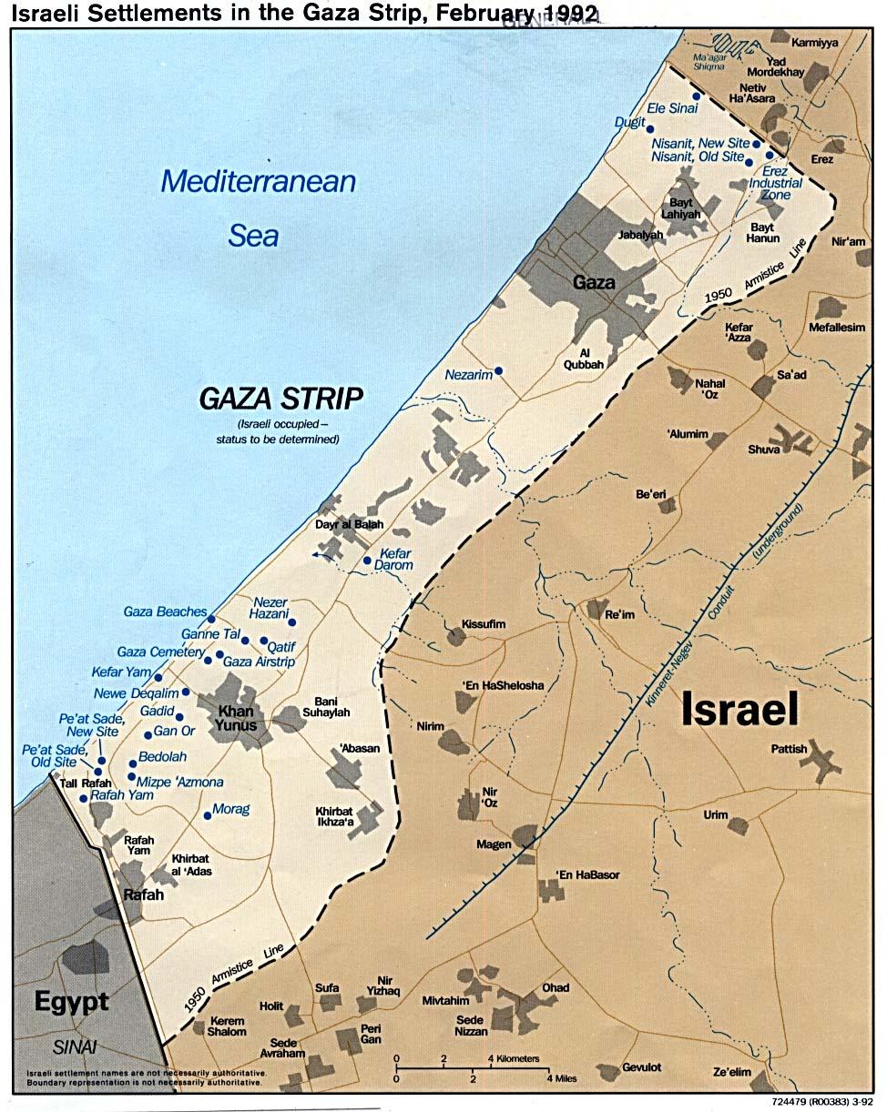 Mapa Politico de los Asentamientos Israelíes en la Franja de Gaza