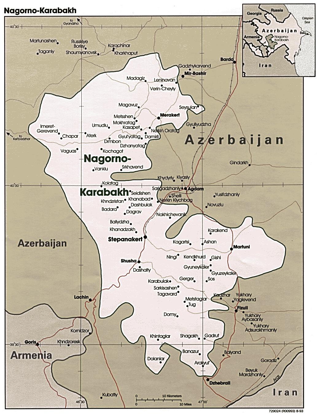 Mapa Politico del Alto Karabaj