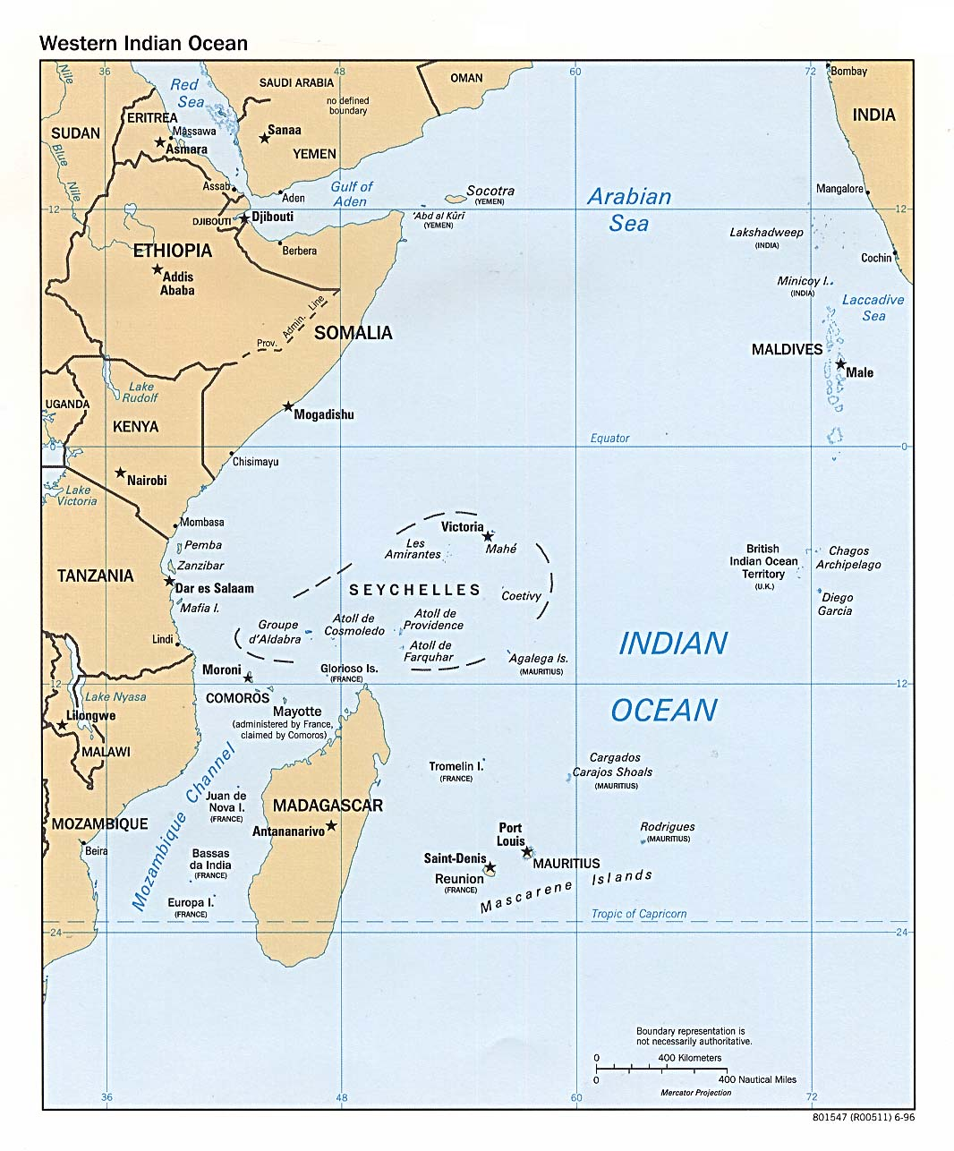 Indian Ocean West Political Map