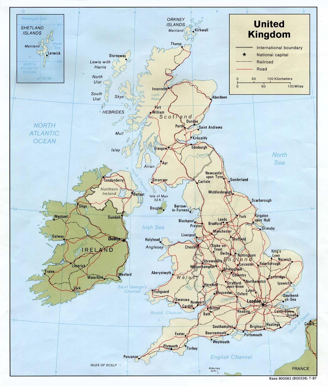 Mapa Politico del Reino Unido