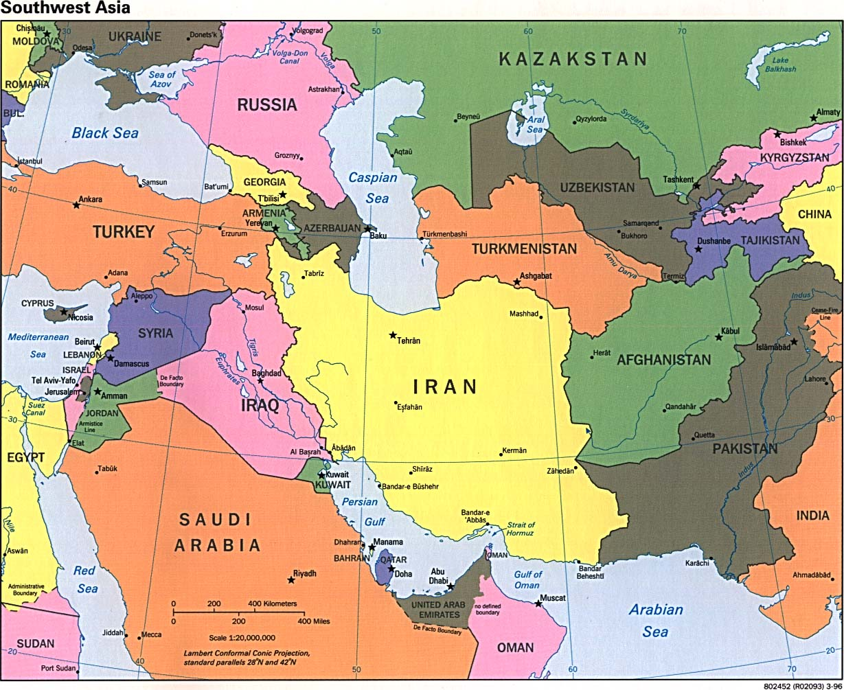Map of Southwest Asia Political Map 1996 - mapa.owje.com
