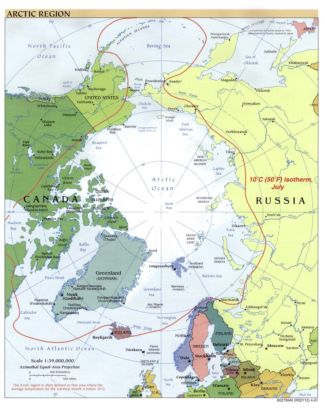 Arctic political map 2001
