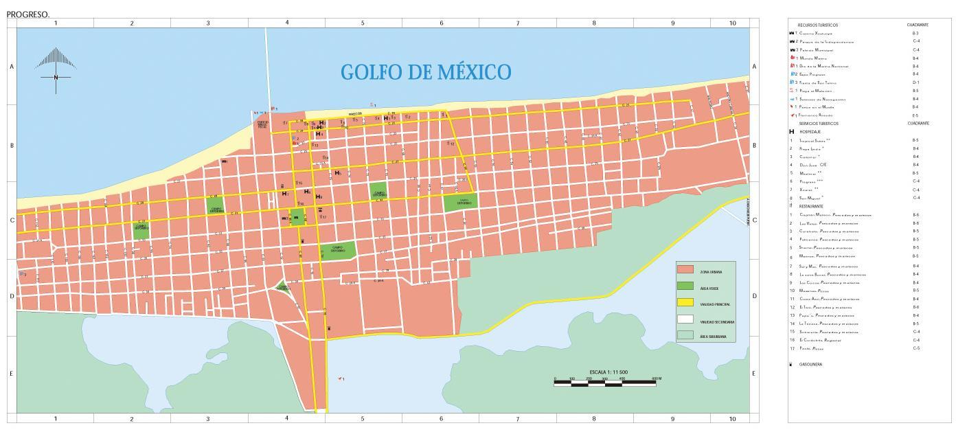 Progreso Map, Yucatán, Mexico