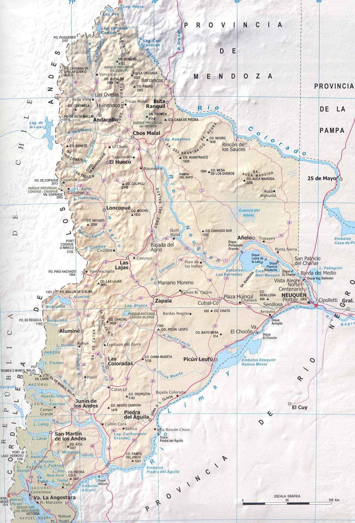 Mapa Provincia Neuquen, Argentina