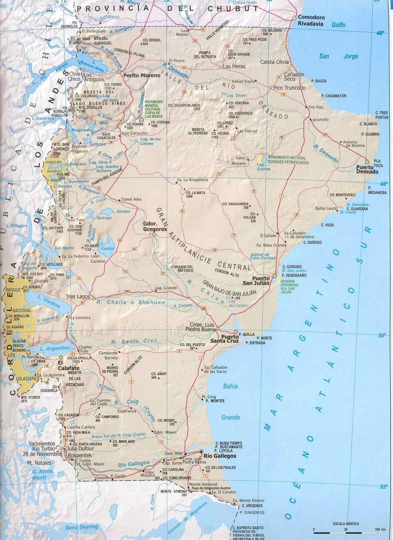 Mapa Provincia Santa Cruz, Argentina
