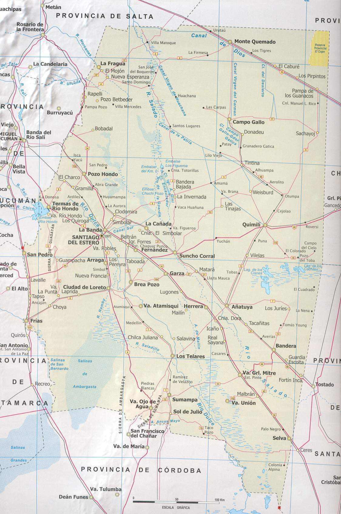 Mapa Provincia Santiago del Estero, Argentina