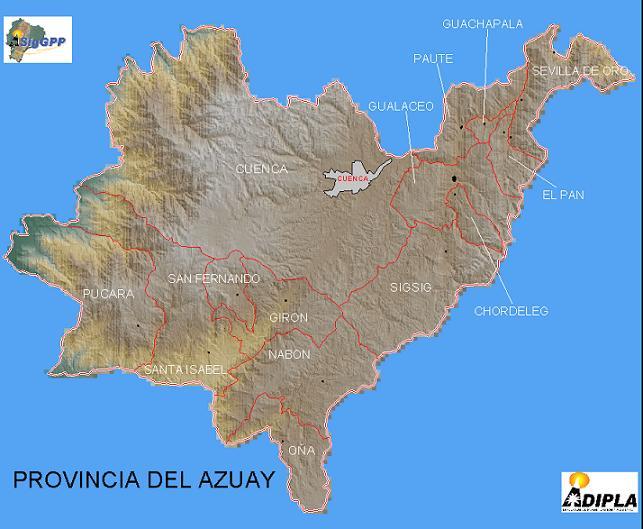 Azuay Province Map, Ecuador