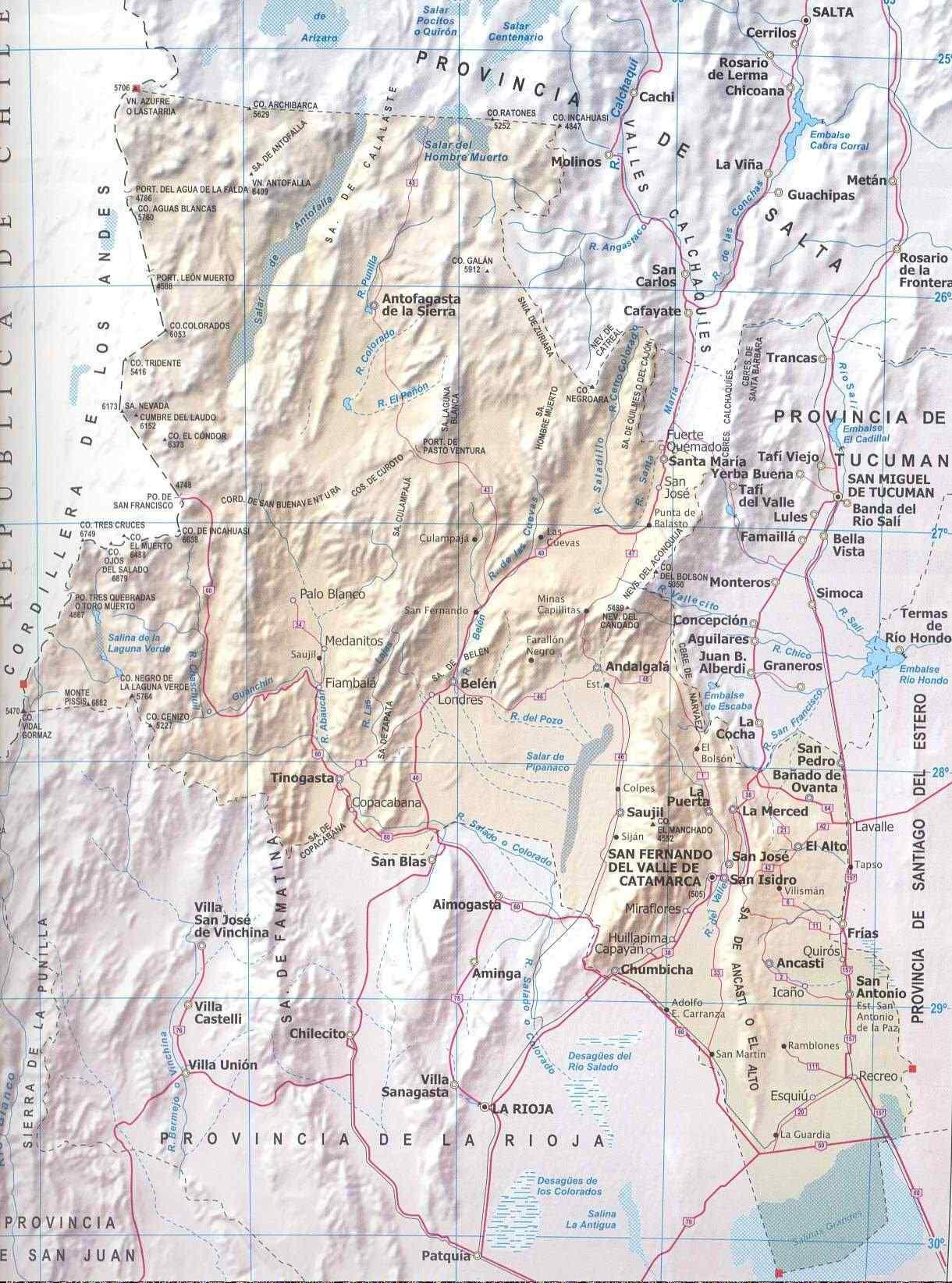 Mapa Provincia de Catamarca, Argentina