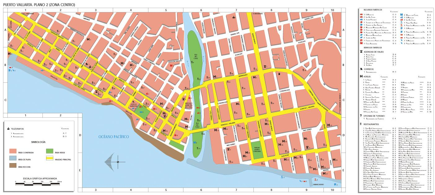 Puerto Vallarta (Downtown) Map, Jalisco, Mexico