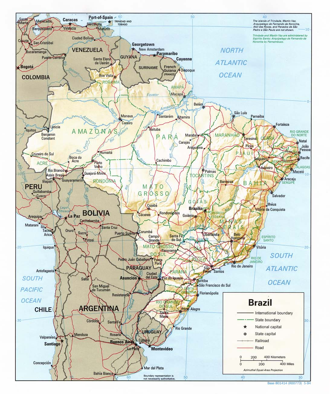 Brazil Shaded Relief