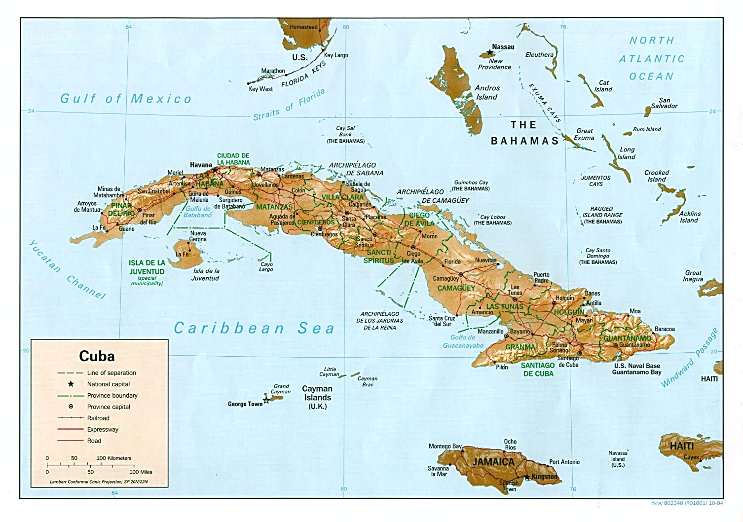 Mapa Relieve Sombreado de Cuba
