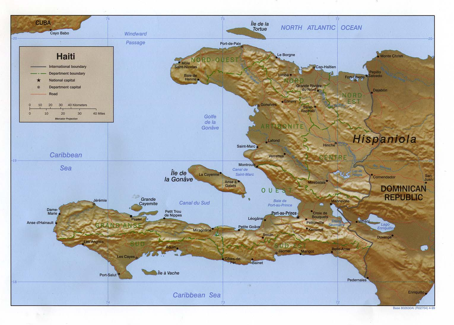 Haiti Shaded Relief Map