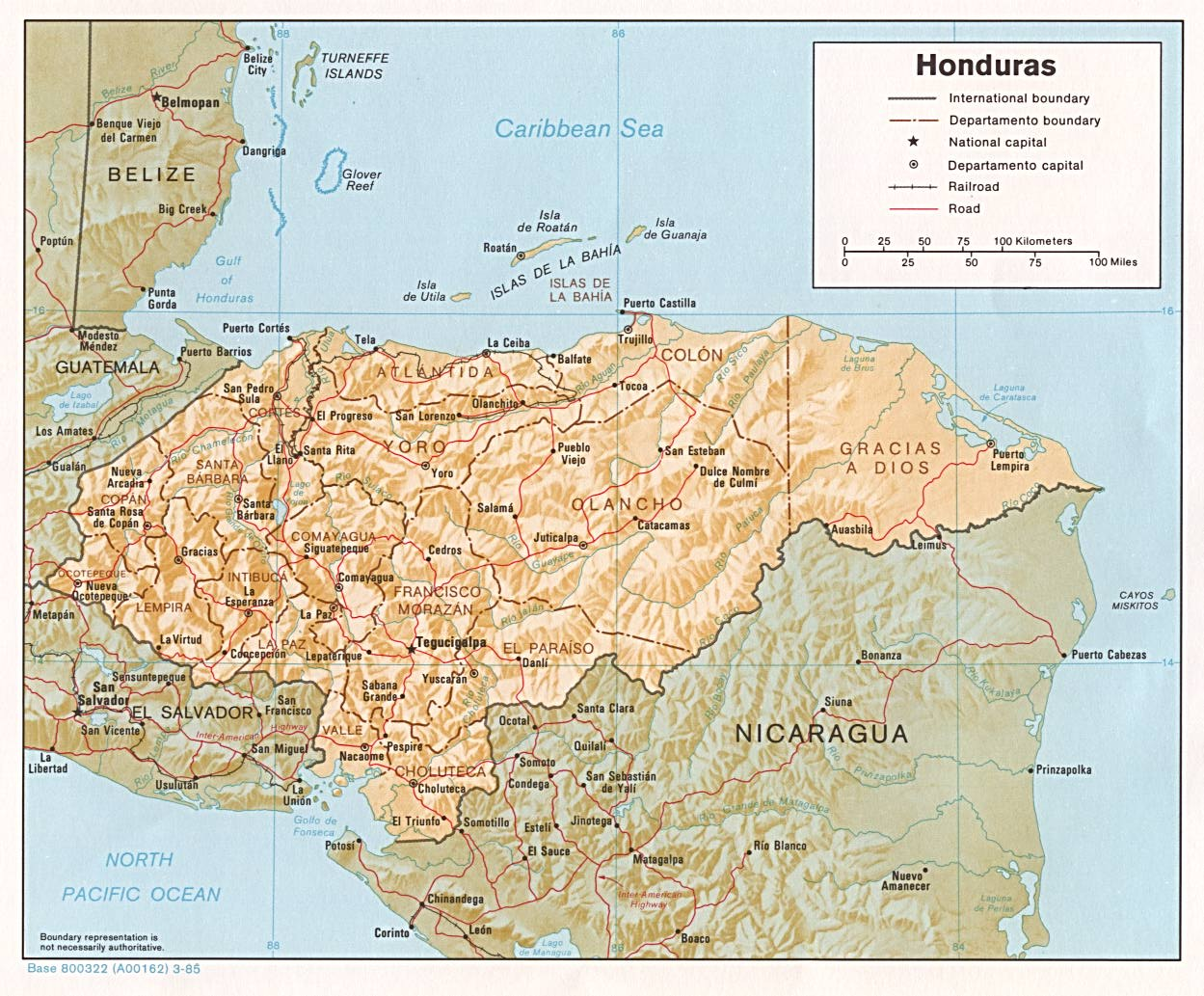 Honduras Shaded Relief Map