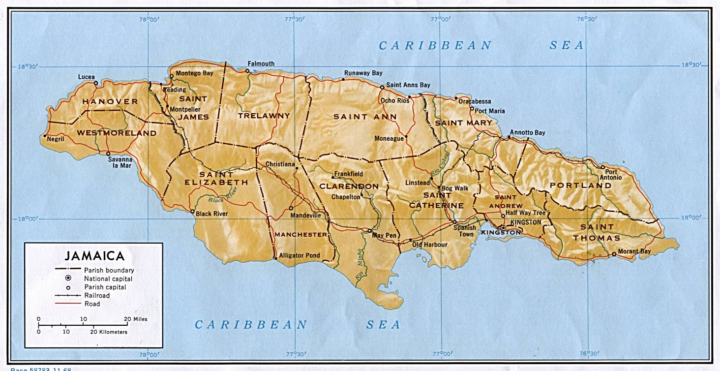 Jamaica Shaded Relief Map
