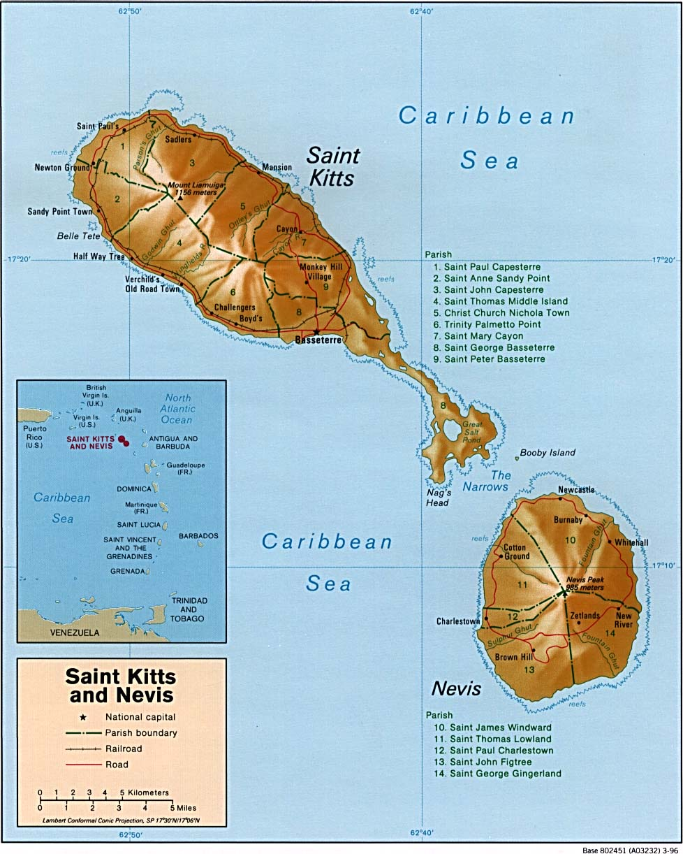Saint Kitts and Nevis Shaded Relief Map