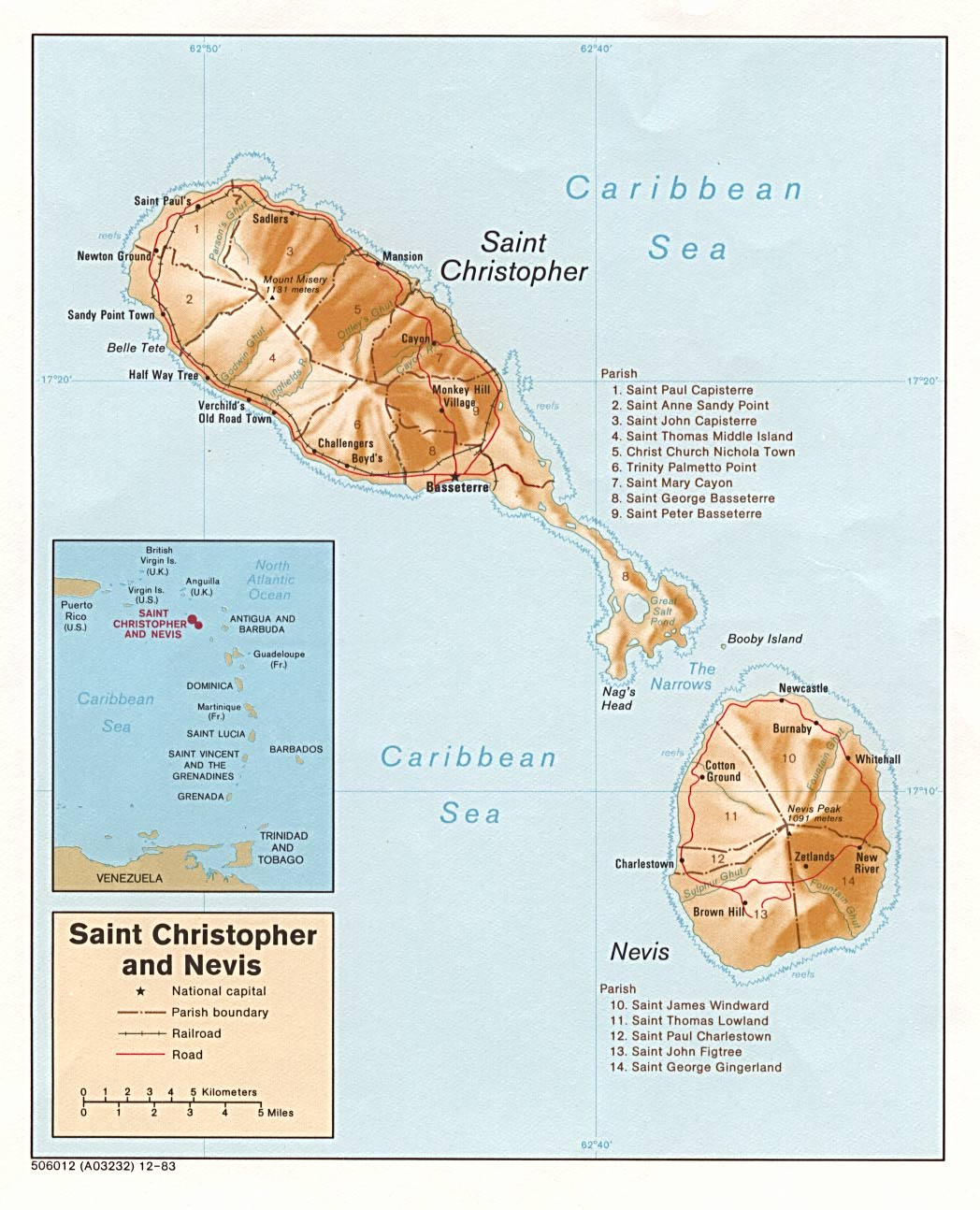(Saint Kitts) Saint Christopher and Nevis Shaded Relief Map