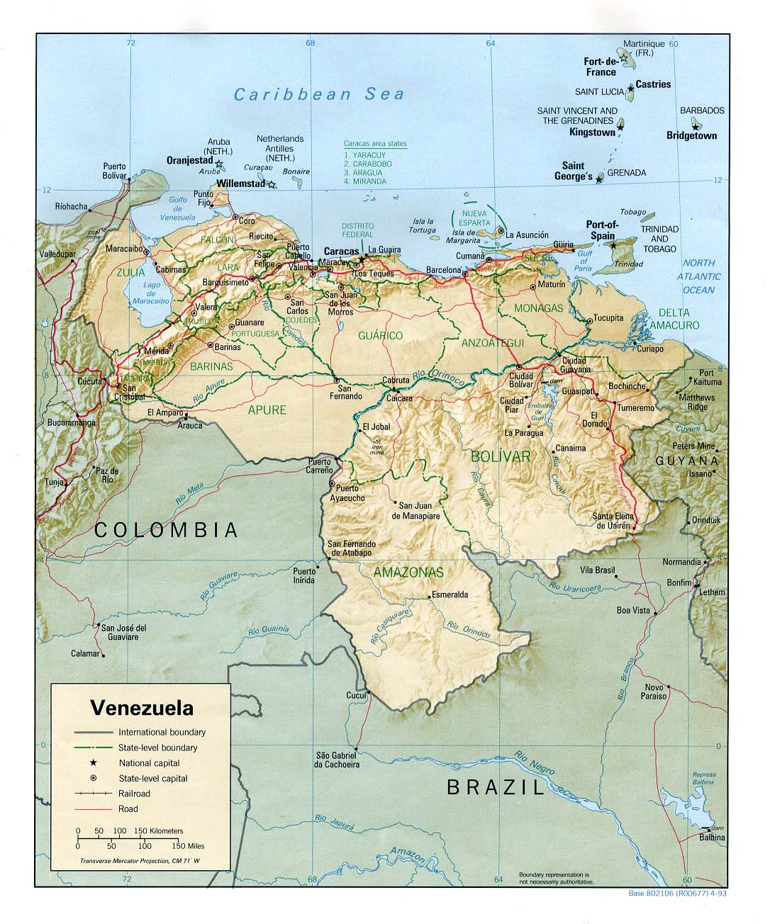 Venezuela Shaded Relief Map