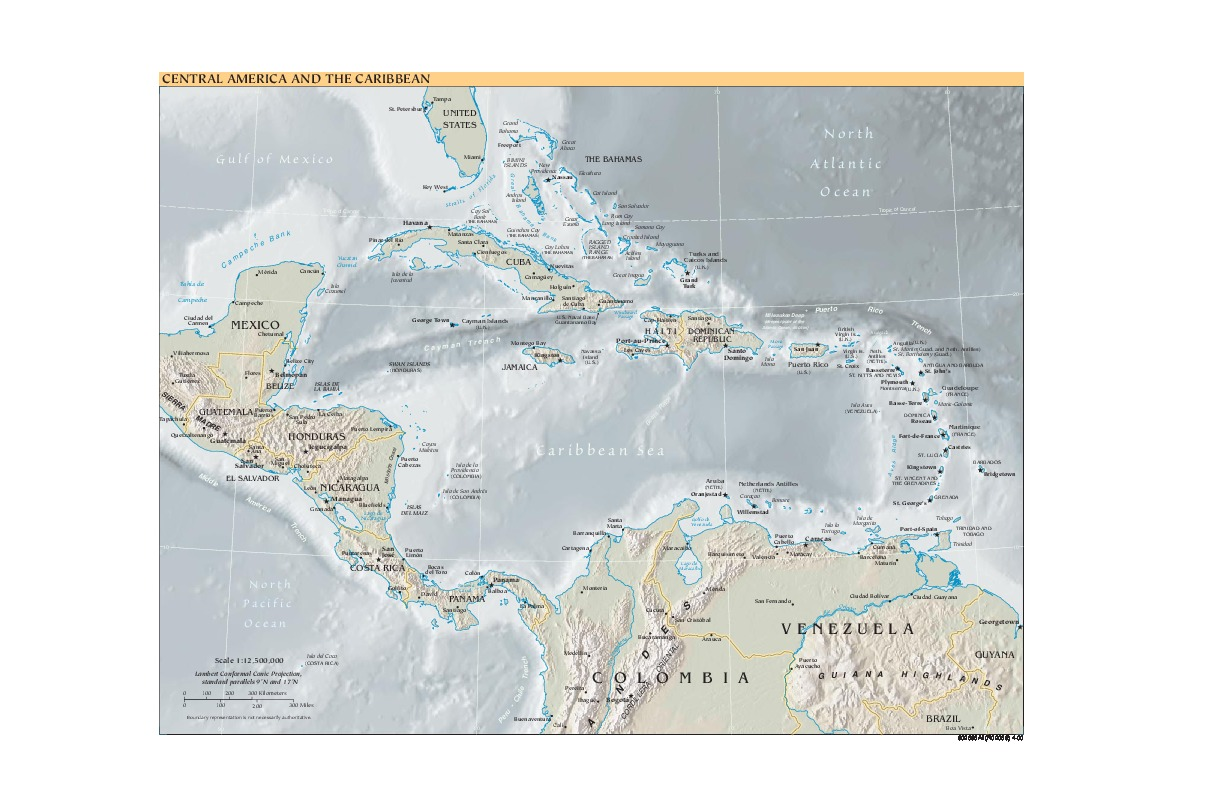 Central America and the Caribbean physical map 2000