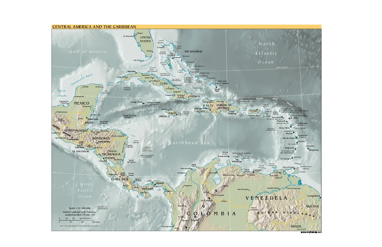 Central America and the Caribbean physical map 2001