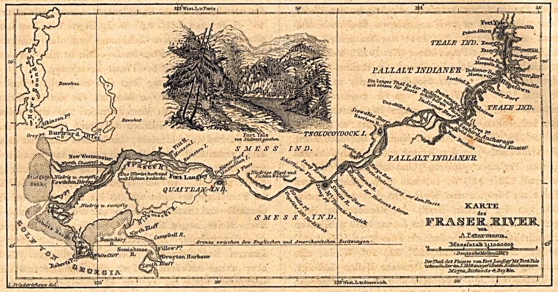 Fraser River Map, British Columbia, Canada 1859