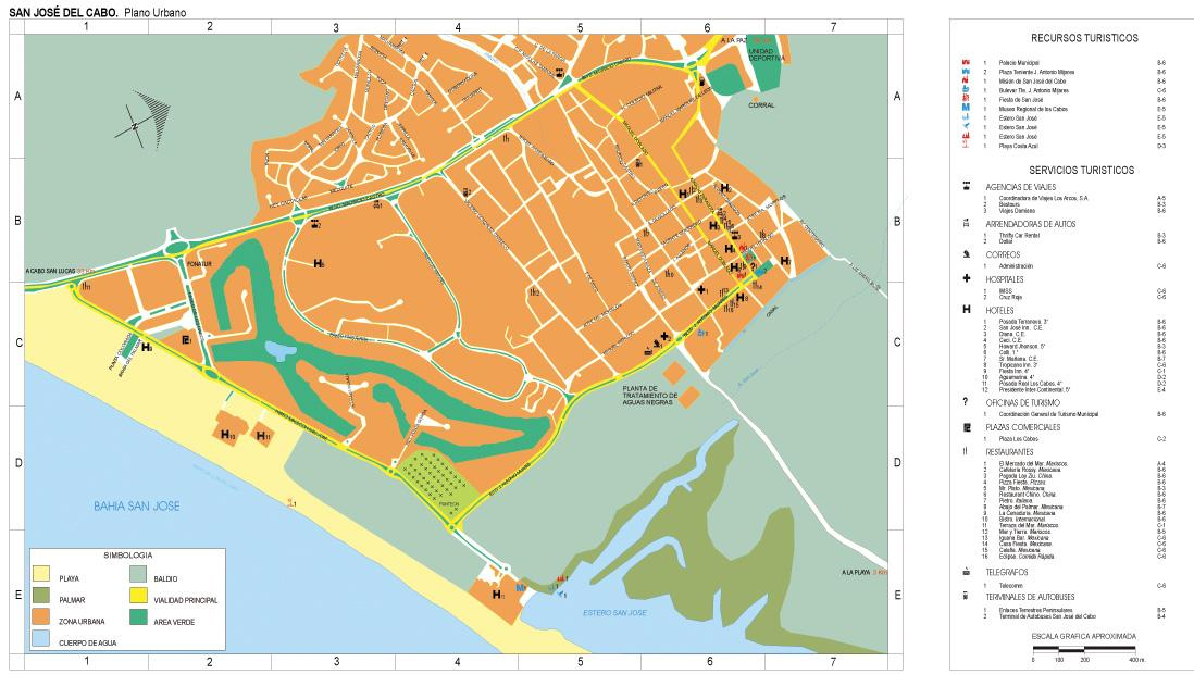San Jose Del Cabo Map, South Baja California, Mexico
