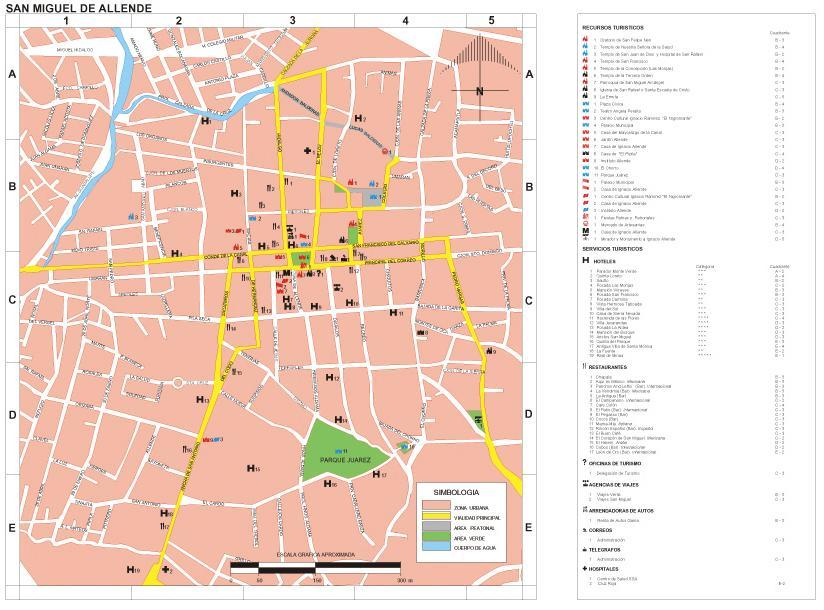 Mapa San Miguel de Allende, Guanajuato, Mexico