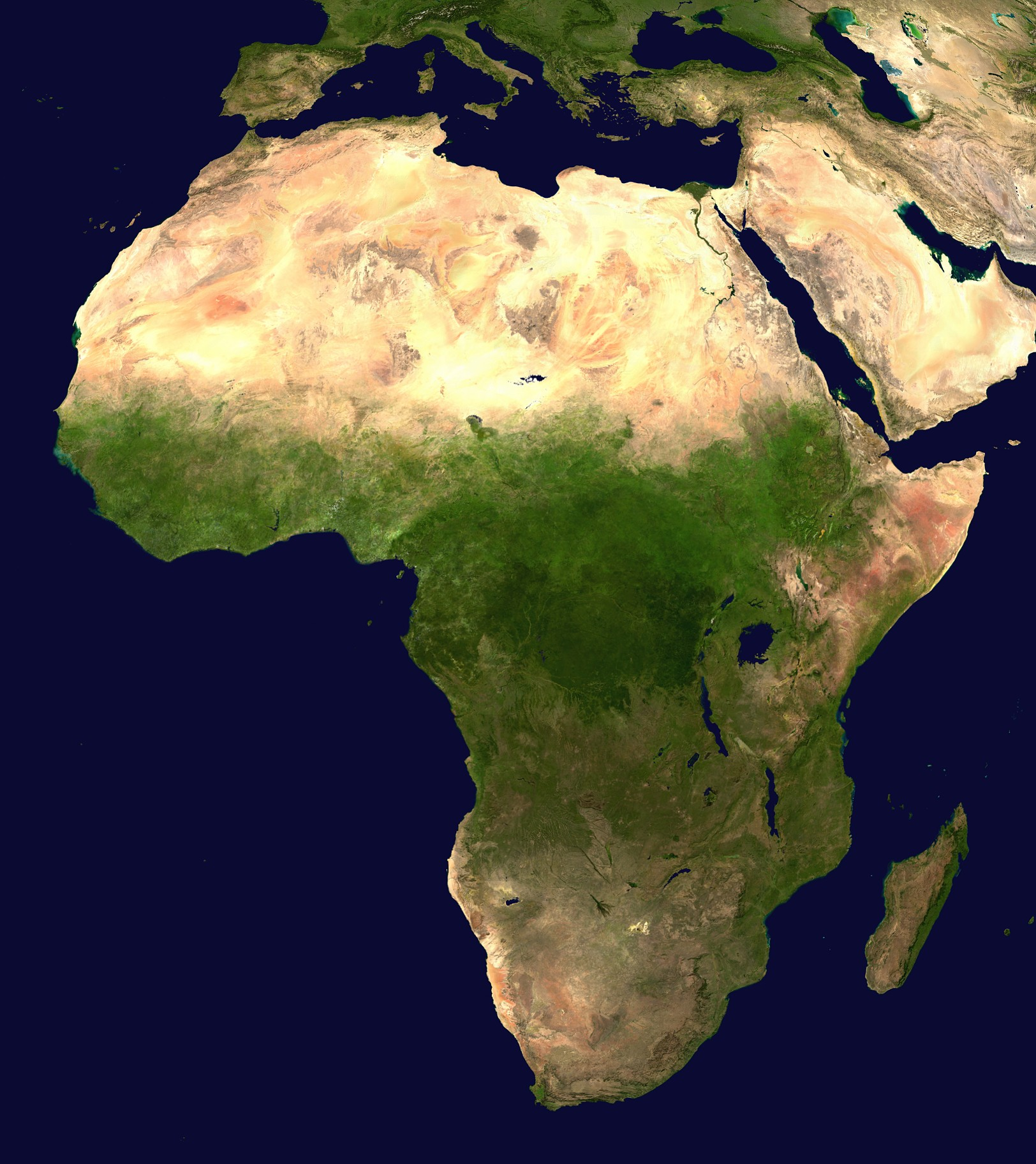 Africa satellite map