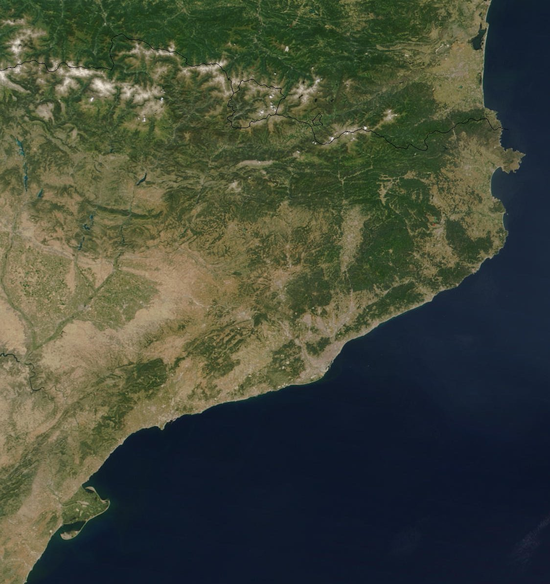 Catalonia satellite map