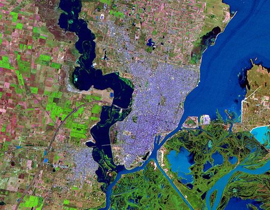 Mapa Satelital de la Ciudad de Santa Fé, Prov. Santa Fé, Argentina