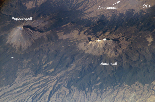 Satellite Image, Photo of Popocatépetl and Iztaccíhuatl Volcanoes, Mexico