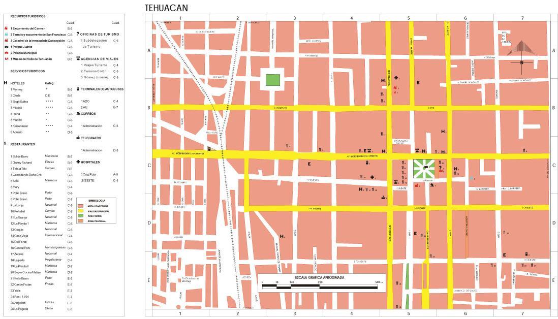 Tehuacan Map, Puebla, Mexico