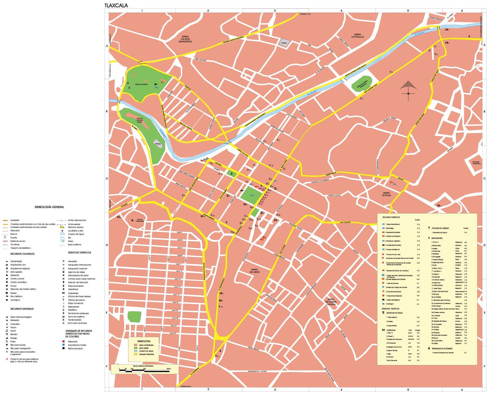Mapa Tlaxcala, Tlaxcala, Mexico