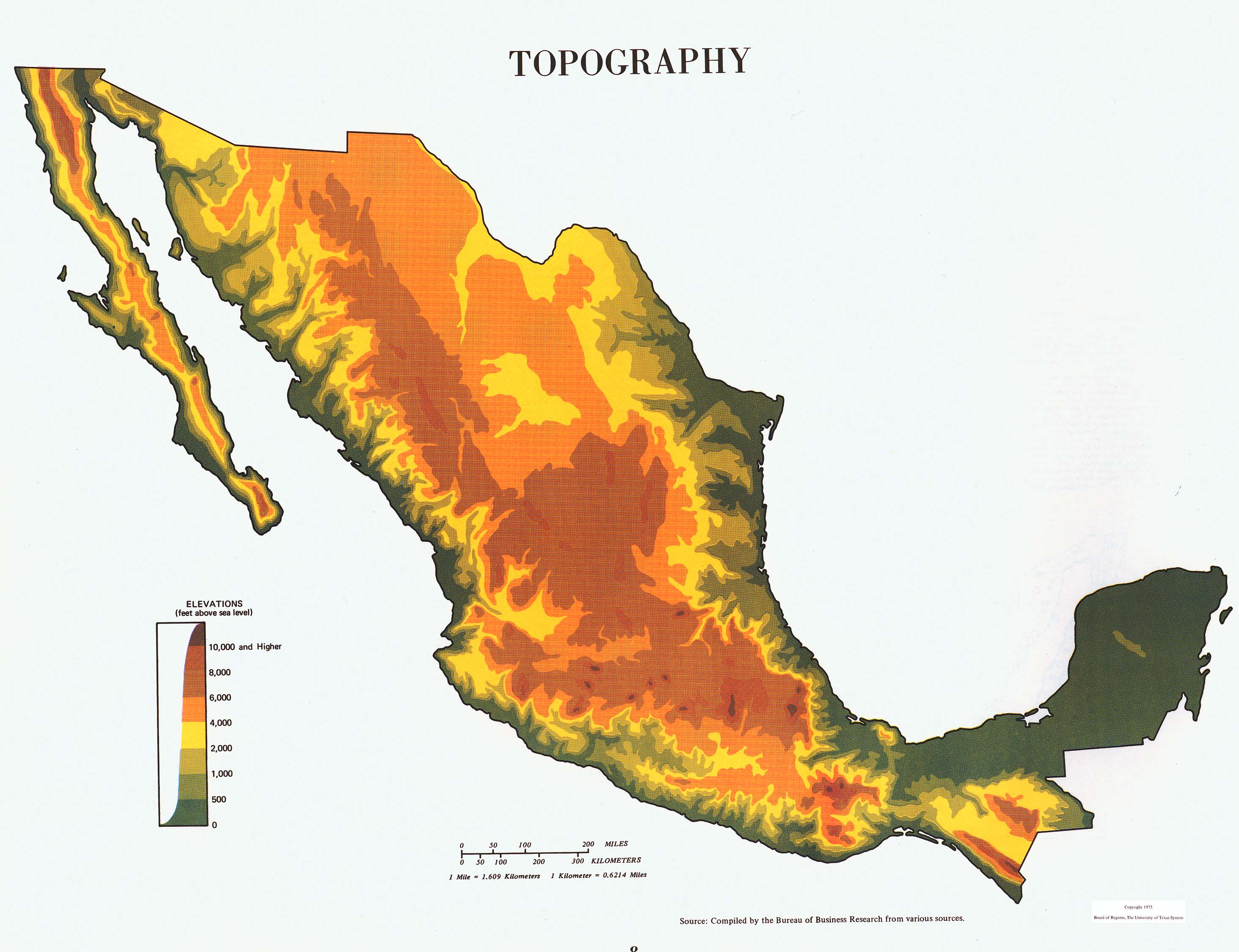 Topography Map, Mexico