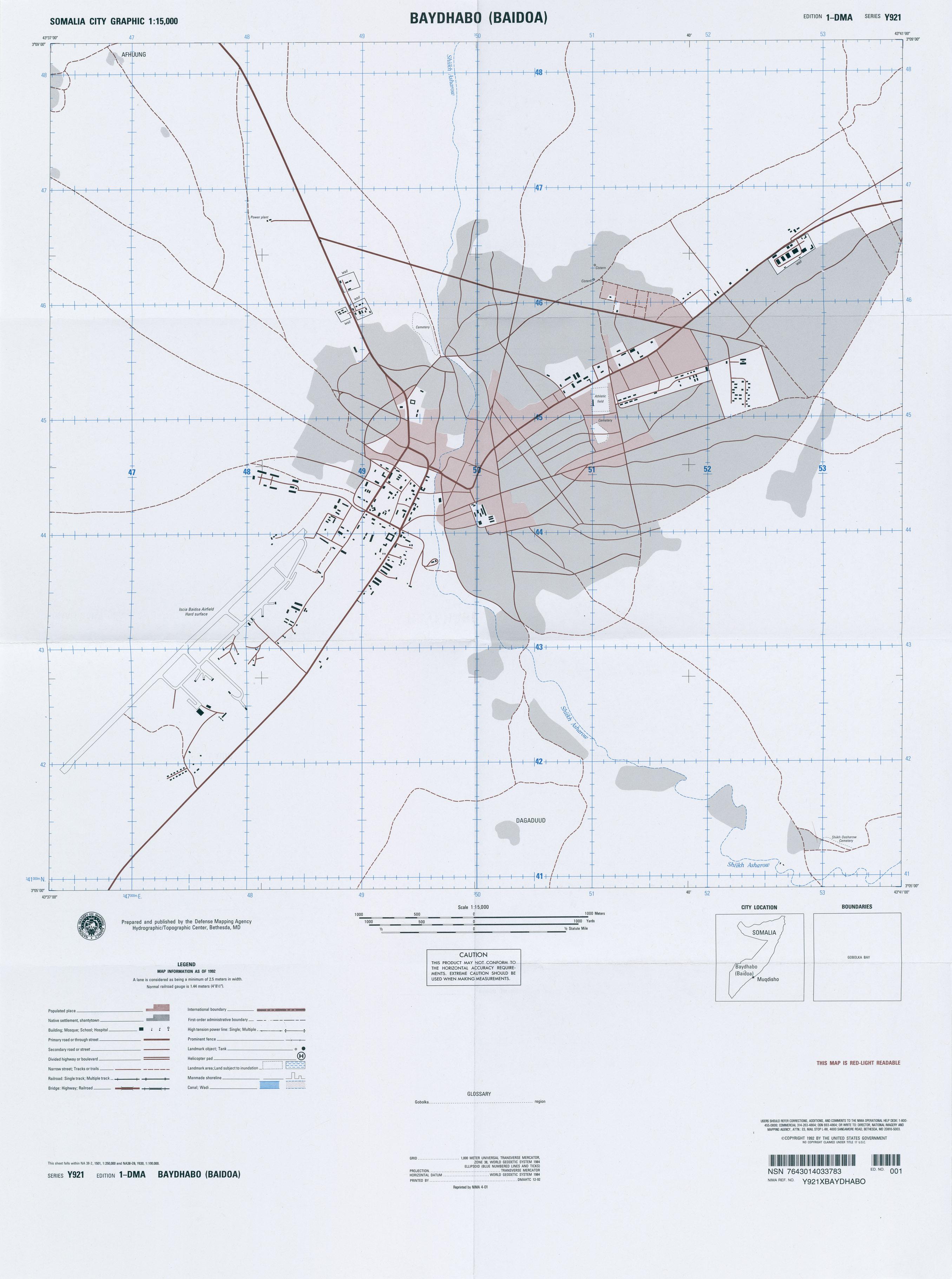 Mapa Topográfico de Baidoa (Baydhabo), Somalia