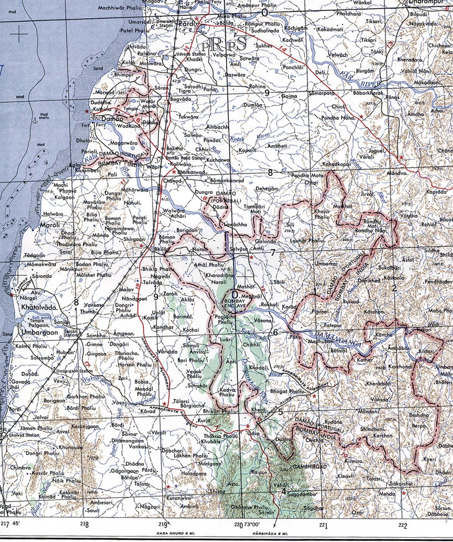 Daman India  city photo : Mapa Topográfico de Damán Damao , India 1954 mapa.owje.com